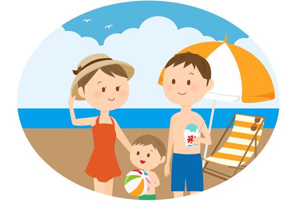 家族で海に
